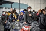 Shoppers at a supermarket in the Lodi area in northern Italy.