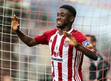 Junior Ogedi-Uzokwe celebrates one of his three goals against Cork City at Turner's Cross last season.
