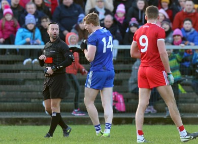 Kieran Hughes misses out for Monaghan tomorrow following his red card against Tyrone last weekend.