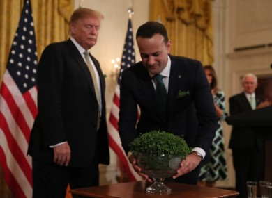 Leo Varadkar presents US President Donald Trump with a bowl of Shamrock on St Patrick's Day last year.
