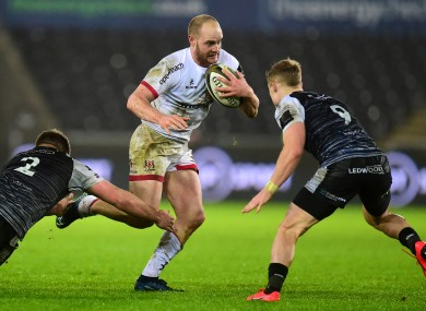 Faddes in possession for Ulster against Ospreys.