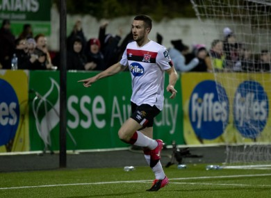 Michael Duffy celebrates scoring against Cork earlier this week.