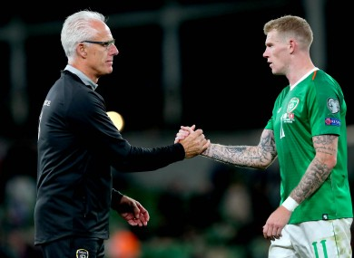 Mick McCarthy with James McClean after the home draw with Switzerland last year.