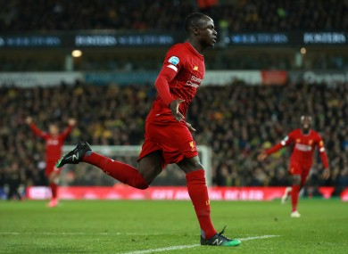 Mané celebrates after netting the winning goal at Norwich.