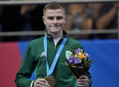Regan Buckley poses with his European light-flyweight medal in Minsk.