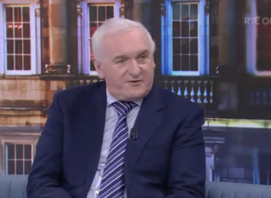 Bertie Ahern speaking to RTE's The Week in Politics