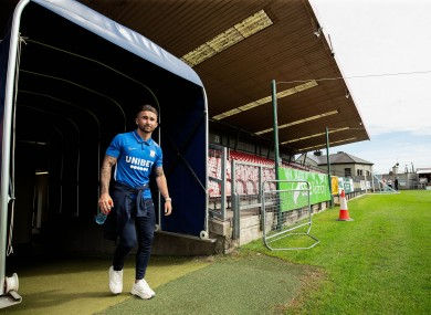Sean Maguire arrives with Preston for a pre-season friendly at Turner's Cross last summer.