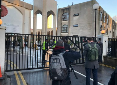 The scene outside London Central Mosque in Regent's Park, where police have arrested a man on suspicion of attempted murder.