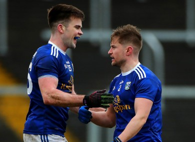 Cavan's Thomas Galligan and two-time goalscorer Stephen Murray after the game.