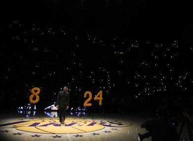 Singer Usher performs during a memorial for Kobe Bryant.