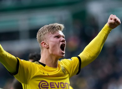 Dortmund's Erling Haaland celebrates his goal.