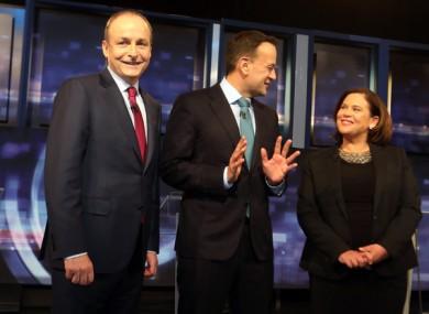 Fianna Fail party leader Micheal Martin, Taoiseach Leo Varadkar and Sinn Fein party leader Mary Lou McDonald