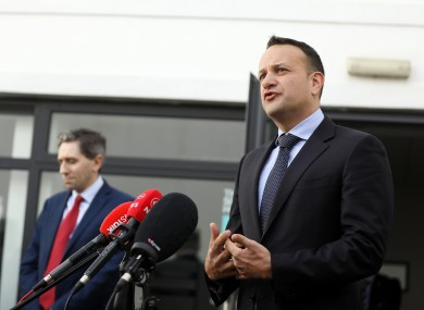 Taoiseach Leo Varadkar and Health Minister Simon Harris speaking outside Alone offices this morning.