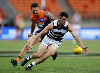 Mark O'Cononr in action for Geelong against GWS Giants last Saturday.