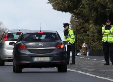 Garda checkpoints in the Phoenix Park in Dublin.