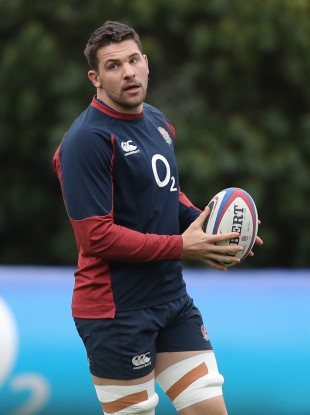 Bath's Charlie Ewels during an England training session.