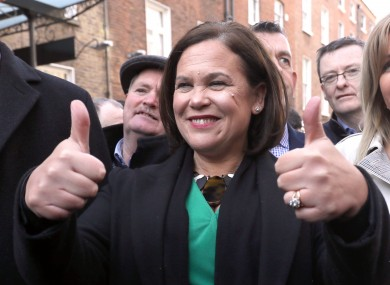 Sinn Féin leader Mary Lou McDonald leads her party's TDs to the Dáil.