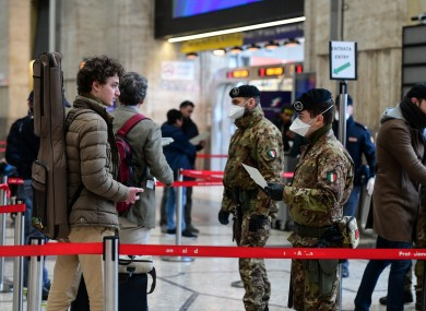 A military checkpoint in Milan's Stazione Centrale train station