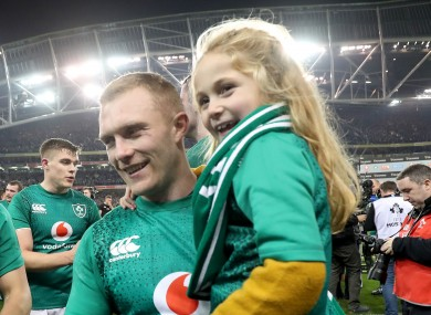 Keith Earls with his daughter Ella-Maye after Ireland's win against New Zealand in November 2018.
