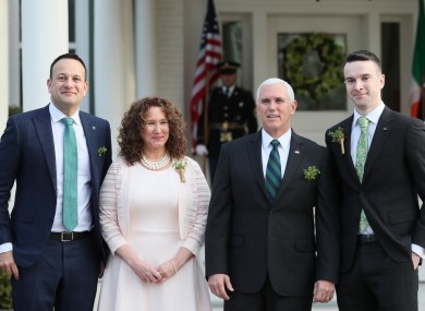 Taoiseach Leo Varadkar with his partner Matt Barrett with the US Vice President Mike Pence and the VP's sister Anne Pence Poynter in 2019.
