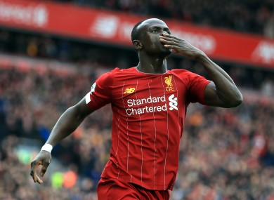 Mane celebrates his goal for Liverpool.