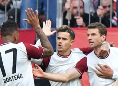 Celebrations after Thomas Müller's goal.