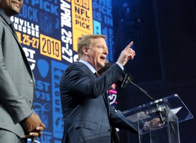 NFL commissioner Roger Goodell during last year's draft.