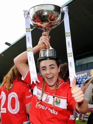 Orlagh Farmer celebrating Cork's league title victory last year.