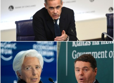 Bank of England's Mark Carney (top), ECB's Christine Lagarde and Minister Paschal Donohoe