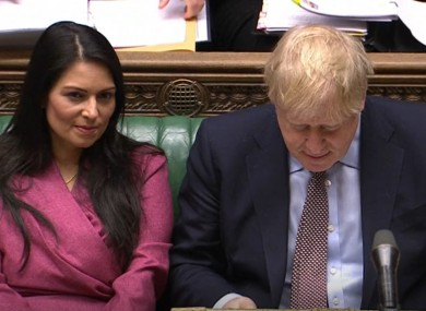 Patel and Johnson during Prime Minister's Questions in the House of Commons today.
