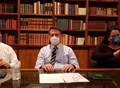 Bolsonaro during his Facebook Live address yesterday.
