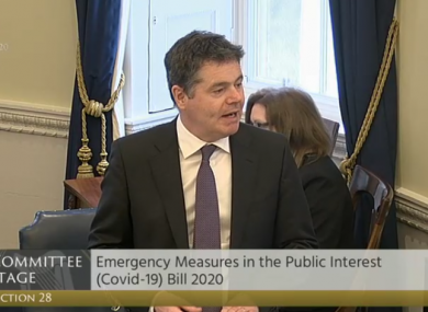 Finance Minister Paschal Donohoe speaking in the Seanad this afternoon.