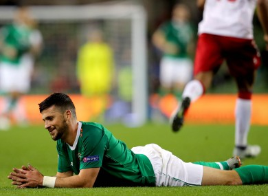 Shane Long playing for Ireland against Denmark in the 2018 Nations League.
