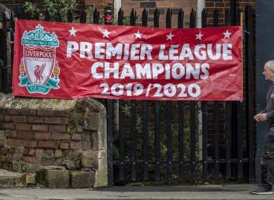 A banner proclaiming Liverpool as the Premier League champions.