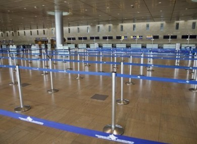 Empty check-in desks in Ben Gurion airport near Tel Aviv.