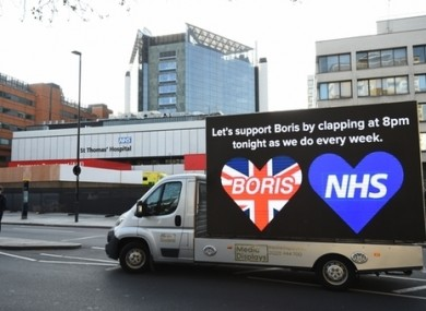 Billboard van outside St Thomas' Hospital in Central London where Boris Johnson is being treated.