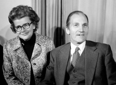 Elizabeth Herrema with her husband Tiede at a press conference in Dublin after his release by kidnappers.
