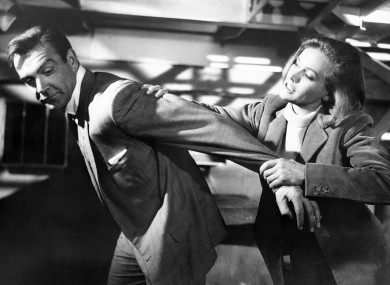 Honor Blackman with Sean Connery in Goldfinger.