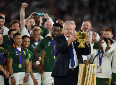 Bill Beaumont presents South Africa with the Webb Ellis trophy after last year's World Cup final.