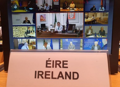 Minister for Finance Paschal Donohoe tweeted this image of EU finance ministers remotely negotiating the coronavirus rescue deal.