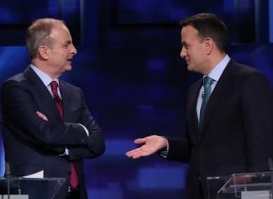 Micheal Martin and Leo Varadkar during a pre-election debate.