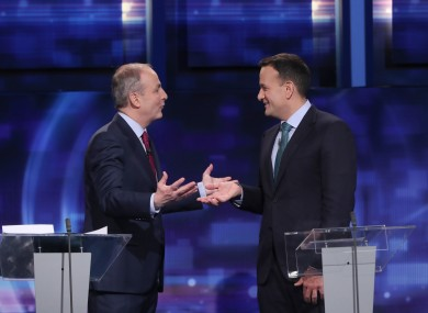 Micheál Martin and Leo Varadkar during a debate before February's general election.