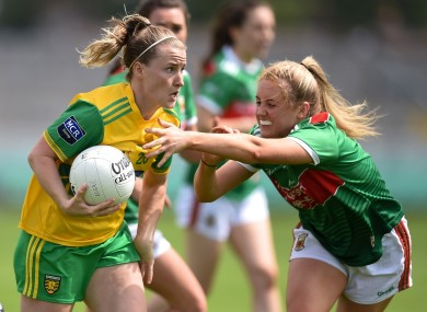 Niamh McLaughlin of Donegal in action against Éilis Roynane of Mayo during the TG4 All-Ireland Ladies Football Senior Championship Group 4 Round 3 match between Donegal and Mayo at Bord Na Mona O'Connor Park in Tullamore, Offaly.