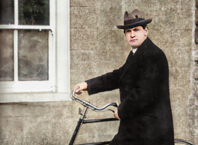 Michael Collins, colourised by John Breslin and shared on Old Ireland in Colour