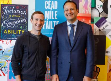 Facebook CEO Mark Zuckerberg and Taoiseach Leo Varadkar picture in California in 2017.