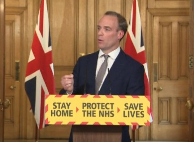 Screen grab of UK Foreign Secretary Dominic Raab during today's media briefing.