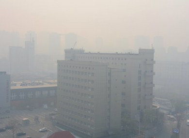 Kiev is obscured by smoke due to forest fires in the Chernobyl zone.