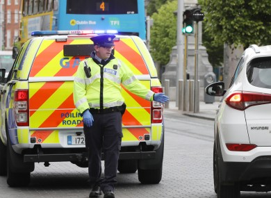 File photo of a checkpoint on O'Connell Street in Dublin city on 15 May.
