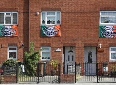 Three flags supporting frontline workers in Dublin.