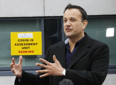 Taoiseach Leo Varadkar at a Covid-19 community hub earlier this week.